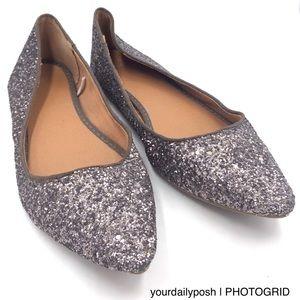 GAP metallic silver pewter gray glitter flats 8
